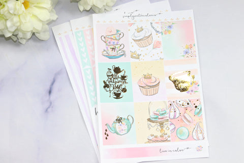 FOIL Cheshire MINI Kit (Gold Foiled) // ECLP Planner Stickers