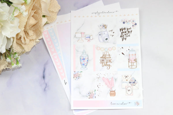 FOIL Courtney MINI Kit (Rose Gold Foiled) // ECLP Planner Stickers