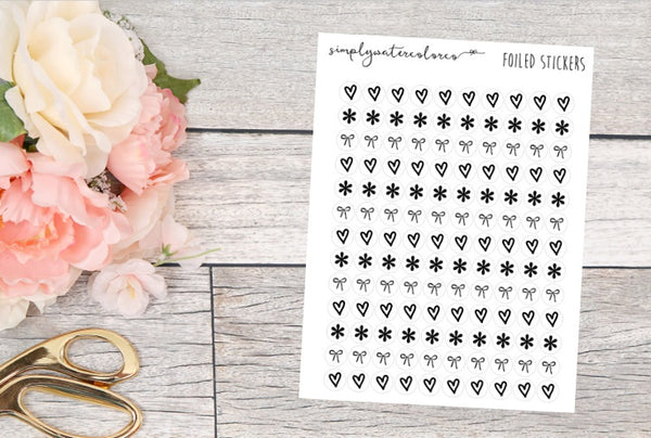 FOIL Heart/Bow/Asterisk Dots (White, Pink Background)