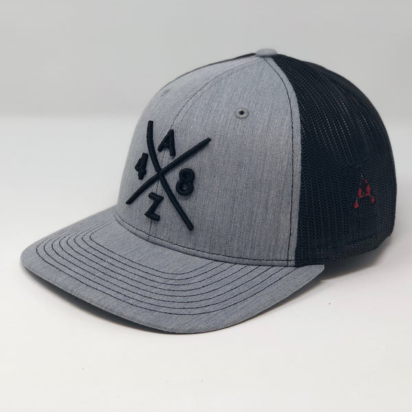 AZ48 Compass Black/Heather Grey Trucker Hat
