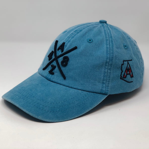 AZ48 Compass Pigment Dyed Dad Hat - Turquoise