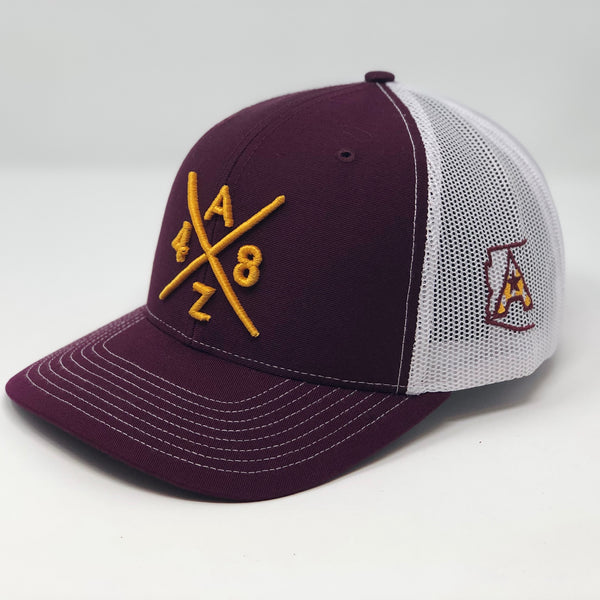 AZ48 Compass Trucker - Maroon/White