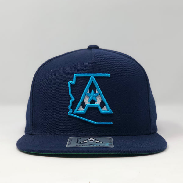 Arizoniacs Logo Flatbill Snapback Cap - Navy/Light Blue