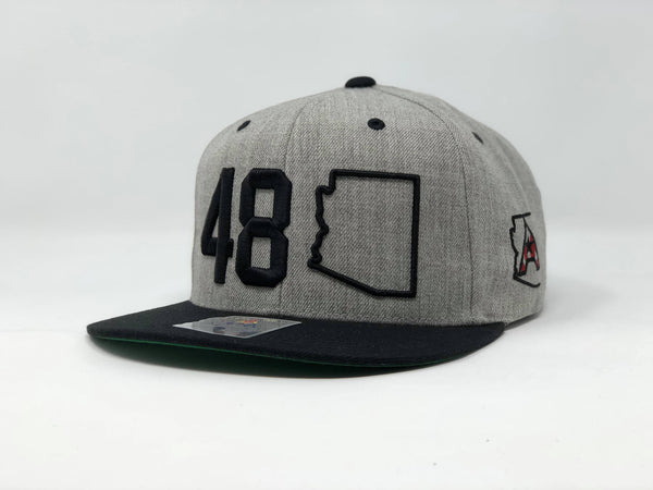 48 Arizona Flatbill Snapback Cap - Grey/Black