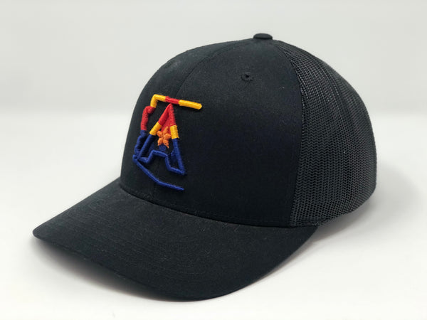 Arizoniacs 4-Color Logo Black Trucker Hat