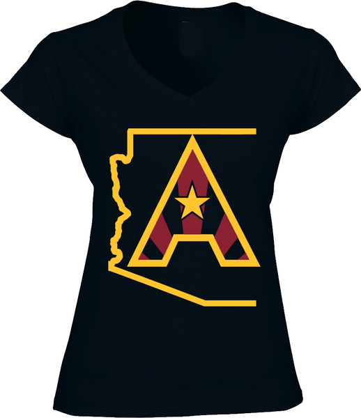 Arizoniacs Logo - Black and Gold  Women's V-neck