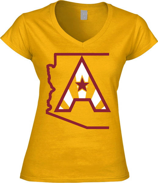 Arizoniacs Logo - Gold and Red  Women's V-neck