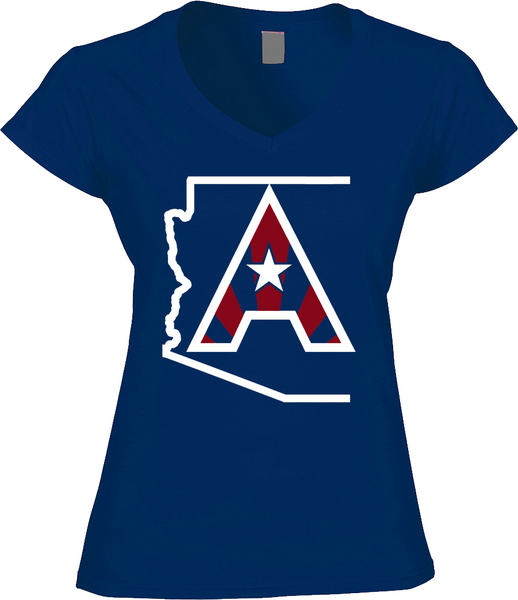 Arizoniacs Logo - Royal Blue and White  Women's V-neck