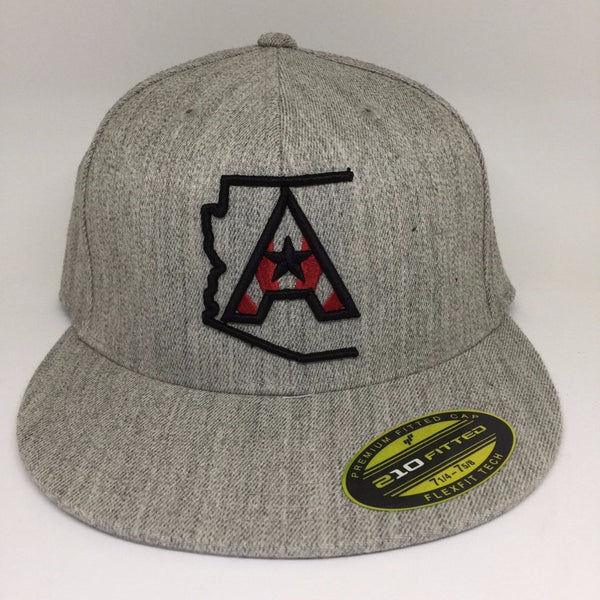 Arizoniacs Logo Fitted Flatbill Snapback Cap - Heather Grey