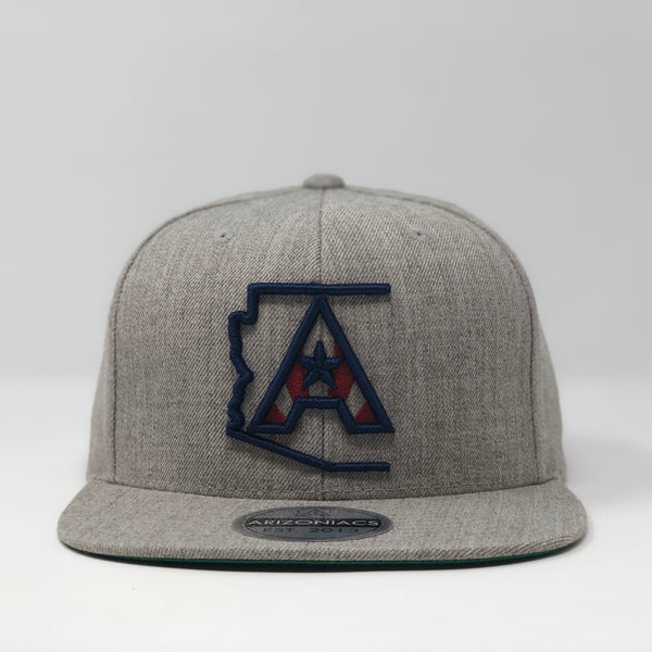 Arizoniacs Logo Flatbill Snapback Cap - Grey with Navy/Red