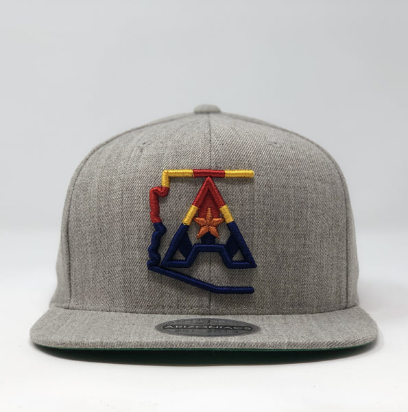 Arizoniacs 4-Color Logo Flatbill Snapback Cap - Grey