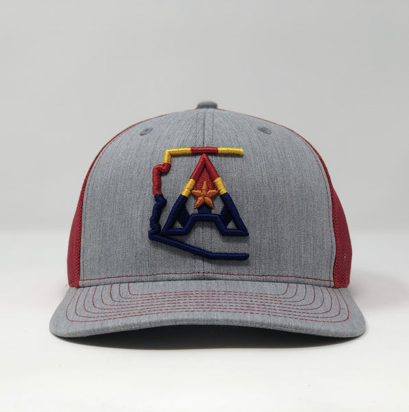 Arizoniacs 4-Color Logo Heather Grey/Red Trucker Hat