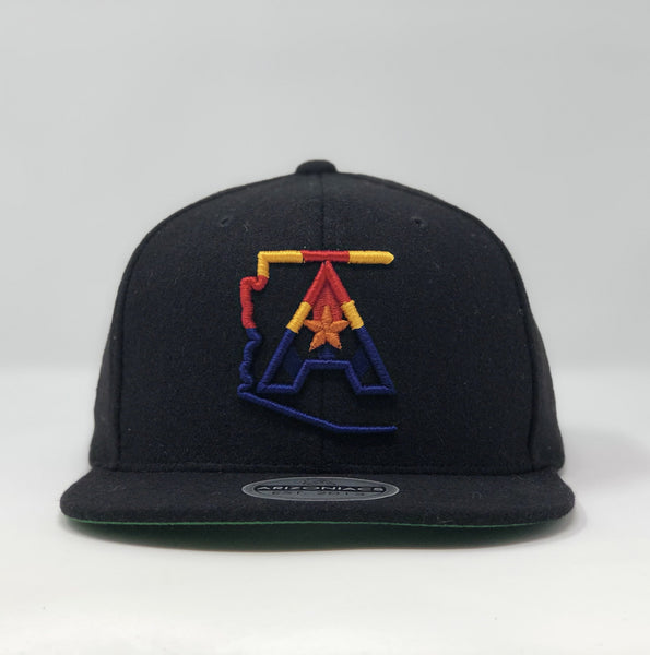 Arizoniacs 4-Color Logo Flatbill Snapback Wool Cap - Black