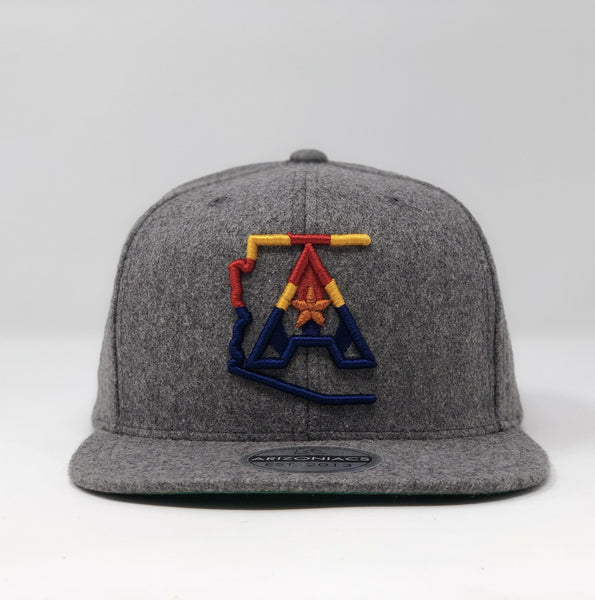 Arizoniacs 4-Color Logo Flatbill Snapback Wool Cap - Grey