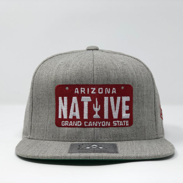 Native License Plate Flatbill Snapback Cap - Grey