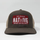 Native License Plate Trucker Cap - Brown/Khaki