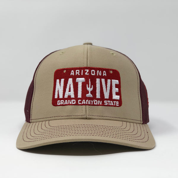 Native License Plate Trucker Cap - Khaki/Maroon