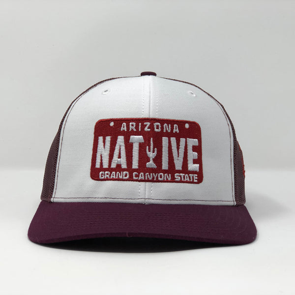 Native License Plate Trucker Cap - White/Maroon