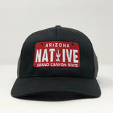 Native License Plate Trucker Cap - Black
