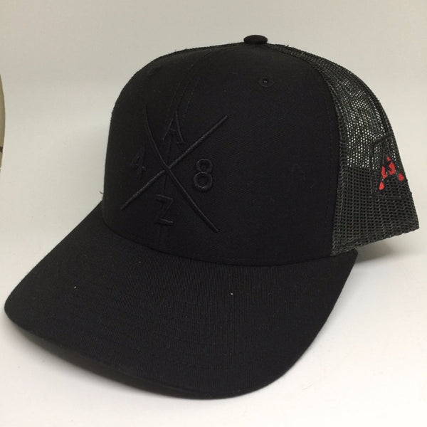 AZ48 Compass Black/Black Trucker Hat