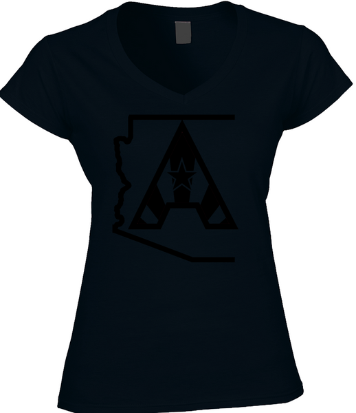 Arizoniacs Logo - Black/Black Women's V-neck