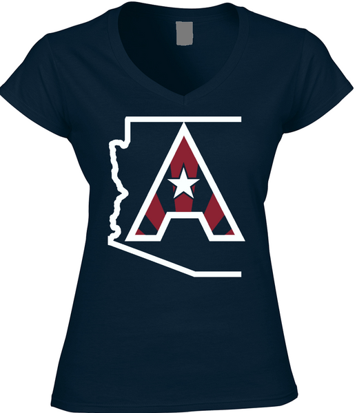 Arizoniacs Logo - Navy and White  Women's V-neck