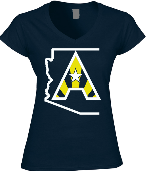 Arizoniacs Logo - Navy and Yellow Women's V-neck