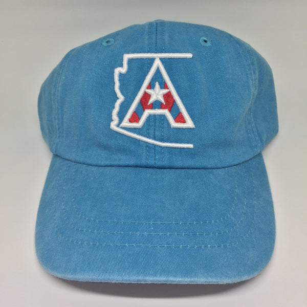 Arizoniacs Pigment Dyed Dad Hat - Carribean Blue/White