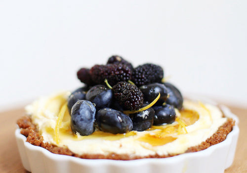 Mascarpone Tart with Blueberries and Mulberries