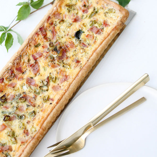 Long Bacon, Swiss Cheese and Onion Tart