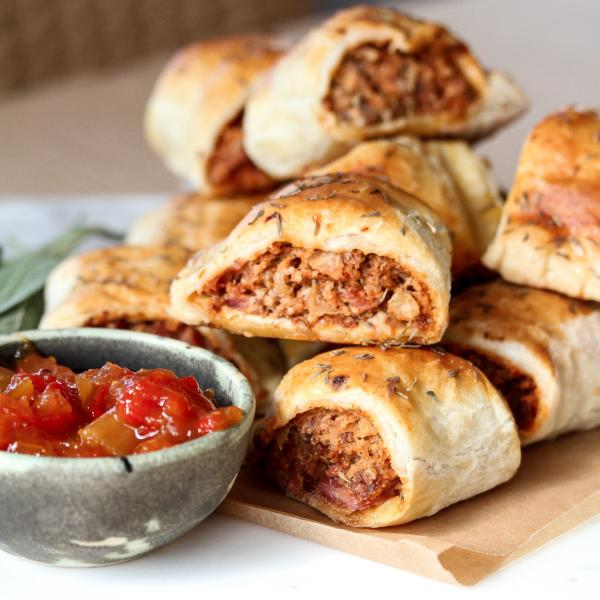 Mini Sausage Rolls Dozen Beef & Bacon