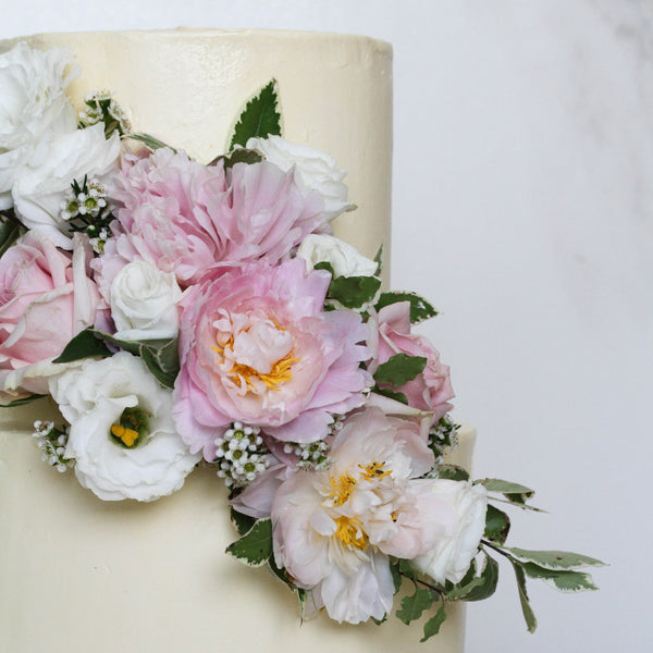 Two Tier Cake with Grand Floral Arrangement