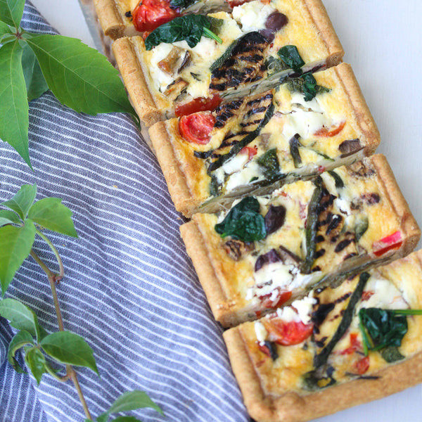 Long Mediterranean Vegetable, Olive and Goats Curd Tart