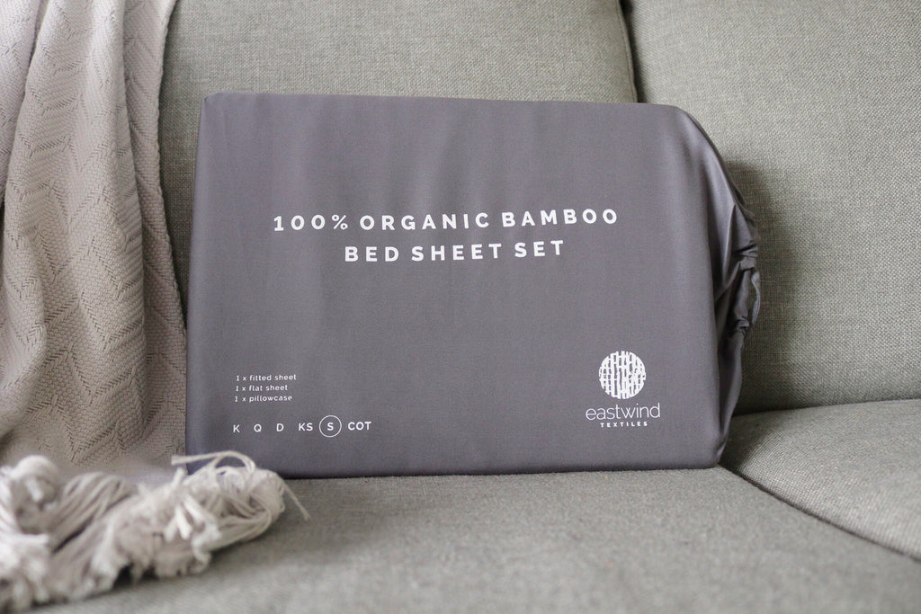 Bamboo Bed Sheet Set - Twill Natural Grey