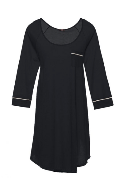Bella Long Sleeve Sleep Dress - black/ivory