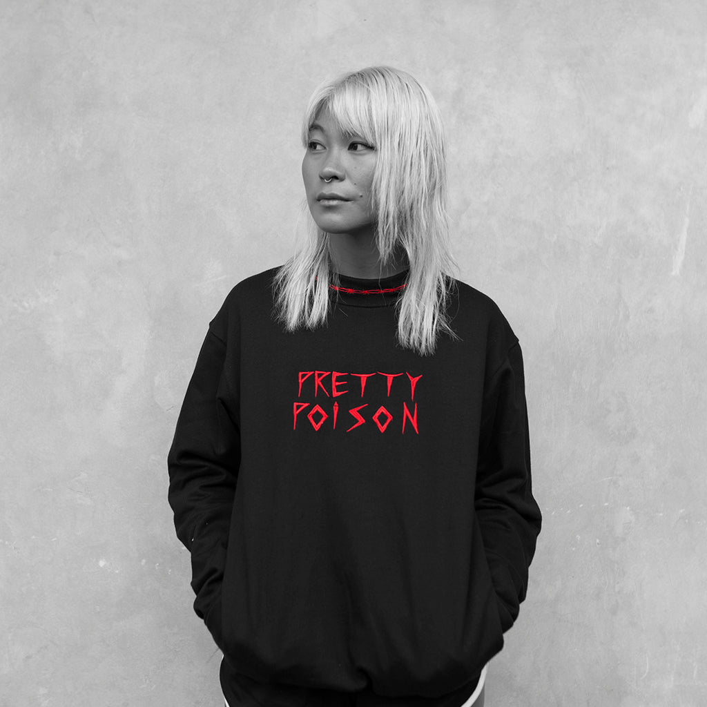 Pretty Poison Sweater with Pretty Poison logo embroidery