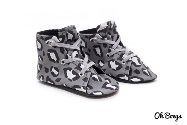 Grey Leopard Lace Up Shoes