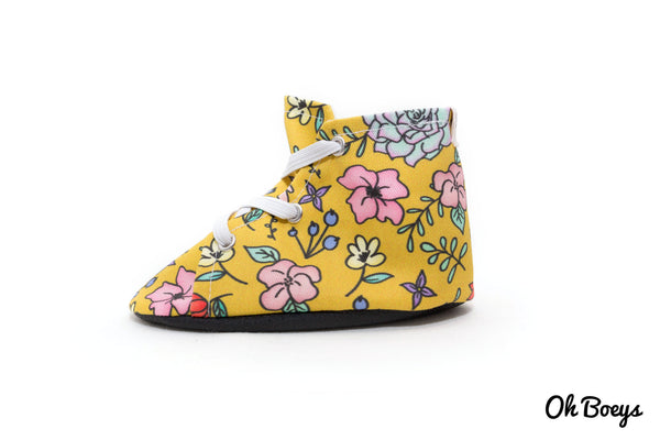 Mustard Floral Doodle Lace Up Shoes