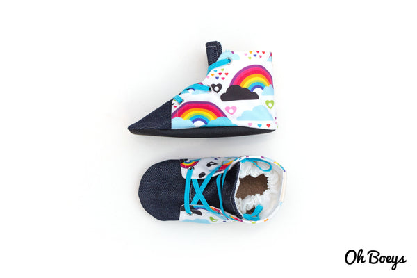 Rainbow & Skull Lace Up Shoes