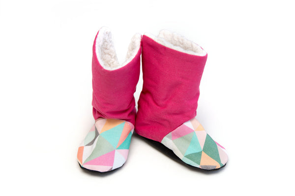 Pink Geometry Winter Boots