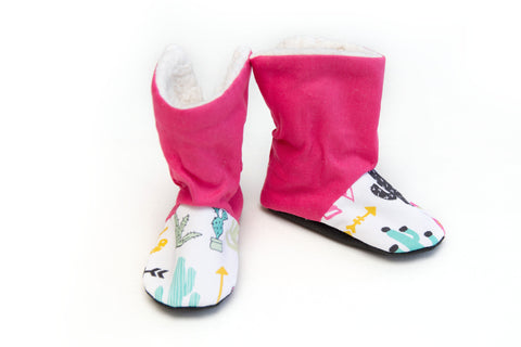 Pink Cactus Winter Boots