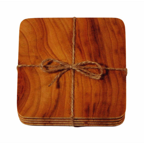 set of 4 or 6 beverage coasters holders mats camphor laurel handmade eco sustainable