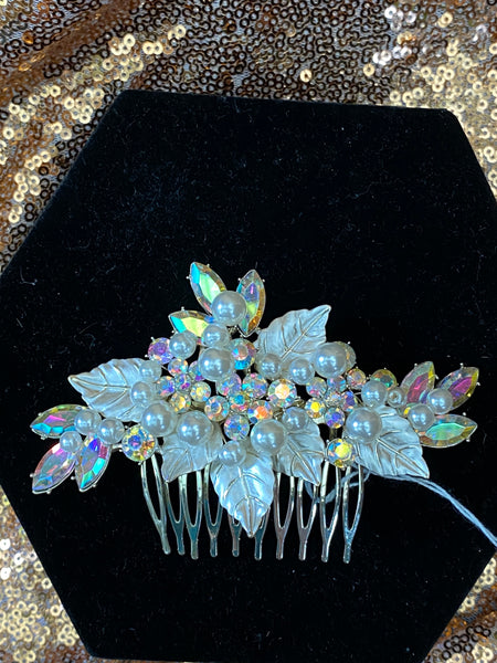 Silver Hair broche with iridescent colored stones