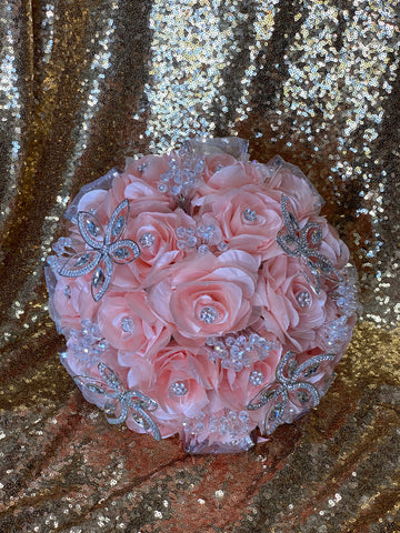 Blush and silver ramo