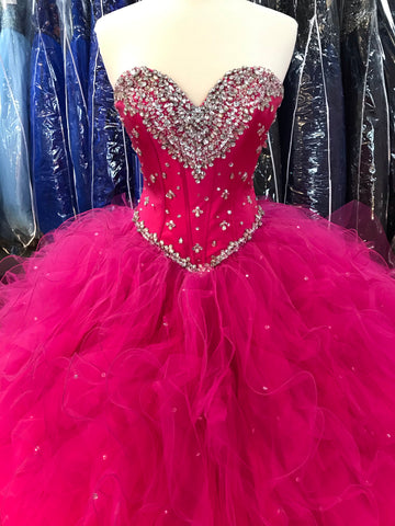 Fuchsia colored Quinceañera/ Sweet 16 dress