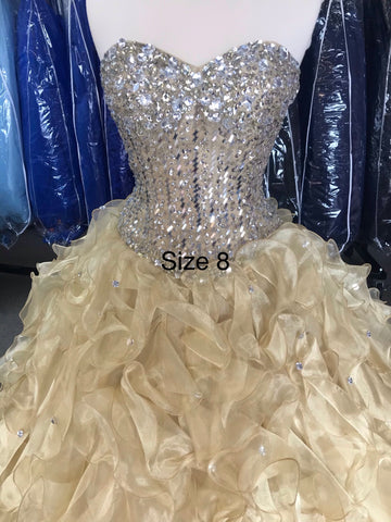 Champagne/Gold colored corset colored gown with corset back