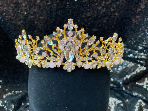 Gold Crown with clear and pink stones