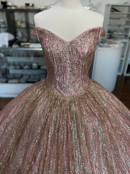 Rose gold and gold dress