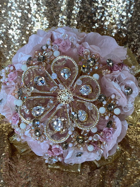 Rose gold, blush and gold Quinceañera bouquet