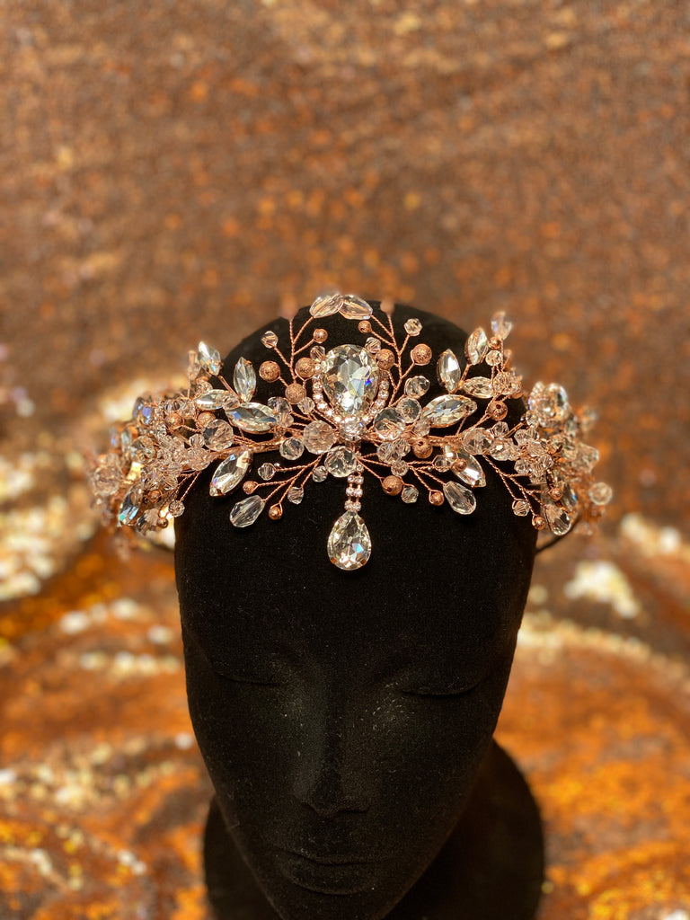 Rose Gold headpiece with clear crystals and clear stones